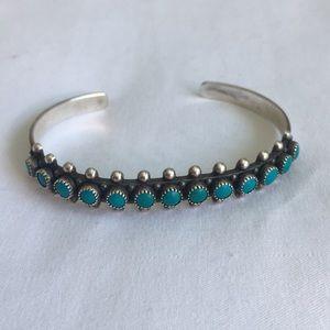 Navajo .925 Vintage Turquoise Cuff Bracelet